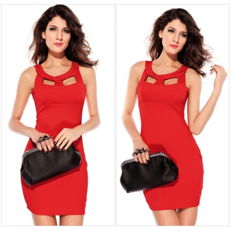 Chest Hollow-out Crew Neck Fashion OL Dress Red lml6165 - lol-malls - Trustful Online Shopping for Women Dresses