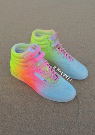 shoes colourful reebok classics multicoloured nikes rainbow trainers custom painted trainers neon reebok trainers reebok nike custom nike trainers painted nike trainers maluhii trainers maluhii