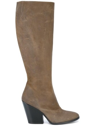 heel chunky heel women boots heel boots leather green shoes
