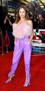 pants,olga kurylenko,feathers,strapless,top,celebrity style,celebrity,lilac