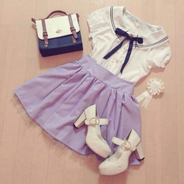 blouse pastel goth sailor top cute kawaii bag shoes dress
