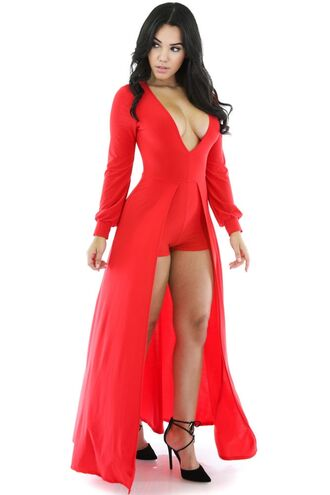 romper red sexy rompers sexy jumpsuit chic trendy cute cocktail romper evening outfits christmas party wots-hot-right-now red dress red romper kylie jenner long tail plunge neckline cleavage formal dress celebrity style celebstyle for less date dress date outfit daring new years eve party dress new year's eve