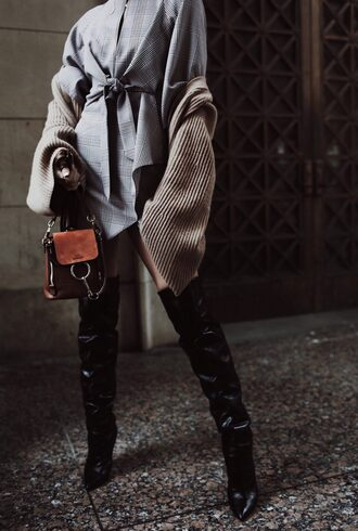 happily grey blogger dress shoes bag cardigan boots over the knee boots grey dress spring outfits