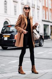 fashionjackson,blogger,coat,sweater,jeans,shoes,bag,sunglasses,boots,ankle boots,fall outfits,camel coat,chelsea boots,brown boots,skinny jeans,black jeans,brown coat,wool coat,black sweater