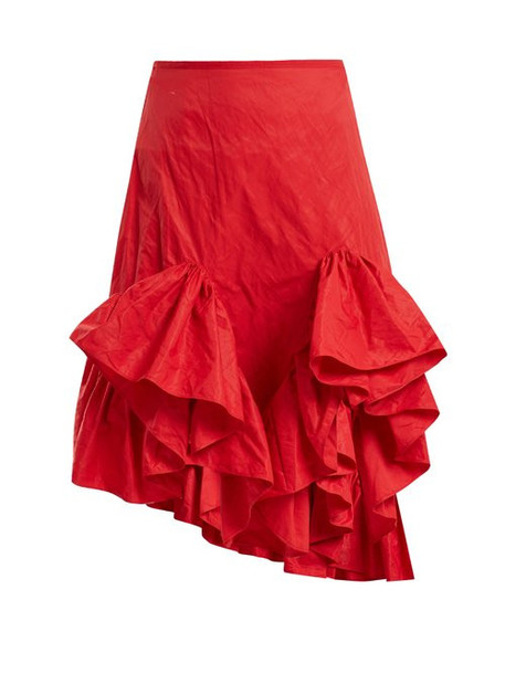 Marques'almeida - Melted Frill Ruffle Skirt - Womens - Red