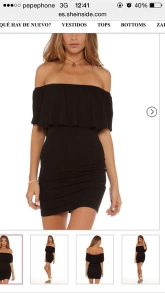 dress bardot dress bardot neck little black dress sexy dress party dress short dress