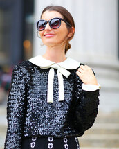 top,glitter,collar,black and white,sequin top
