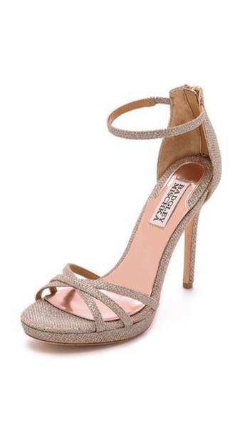 Badgley Mischka rose gold rose sandals gold shoes