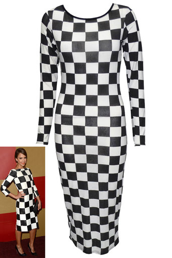 Womens Zubin Monochrome Chequered Midi | Pop Couture