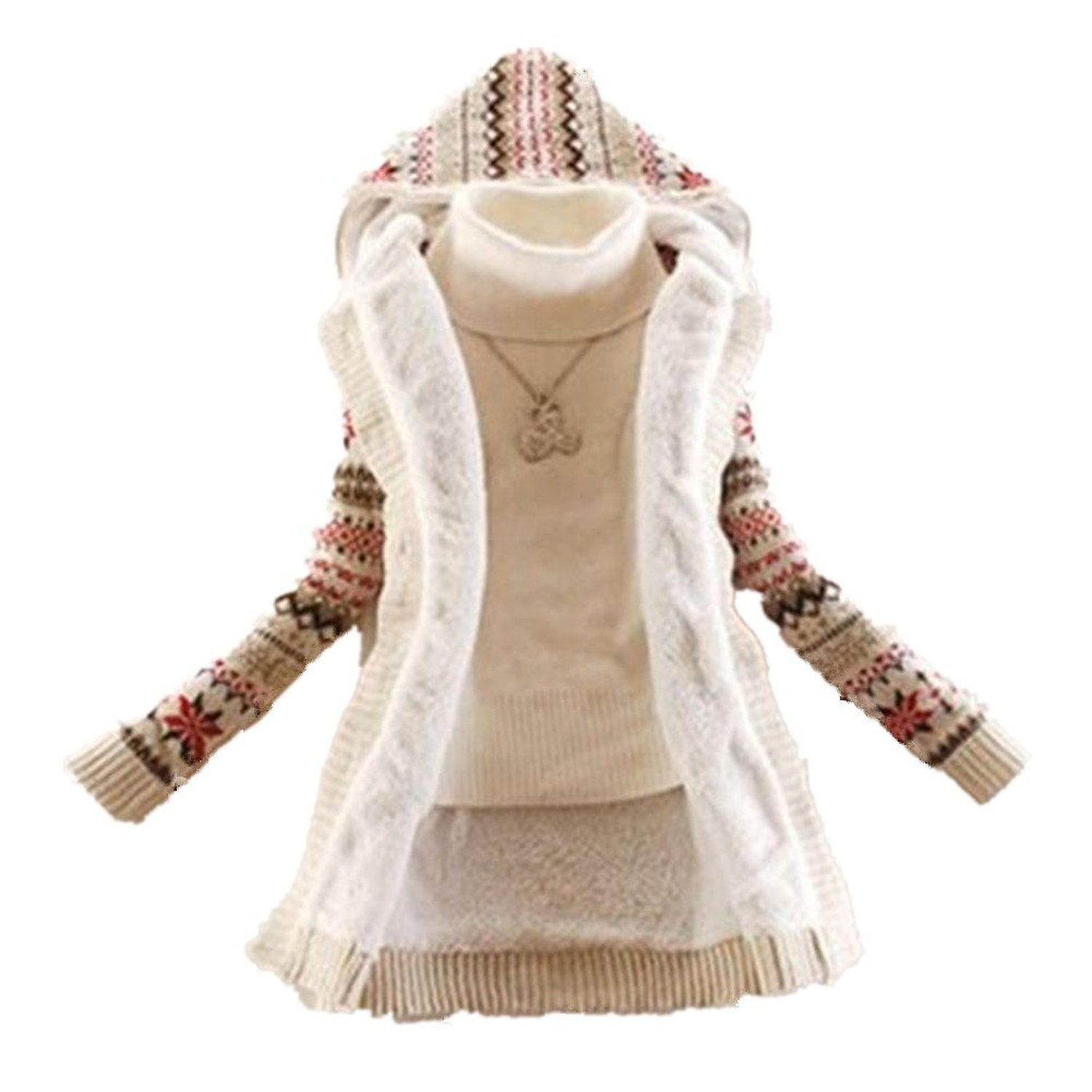Women's Knited Thicken Warm Winter Hooded Cardigan Coats Sweater ...