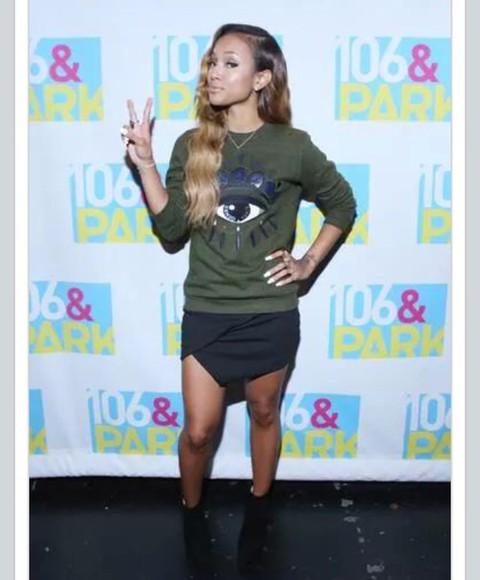 skirt black skirt sweater criss crossed karrueche