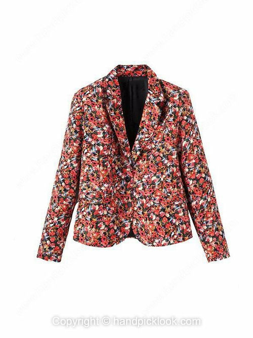 Red Notch Lapel Long Sleeve Floral Print Blazer - HandpickLook.com