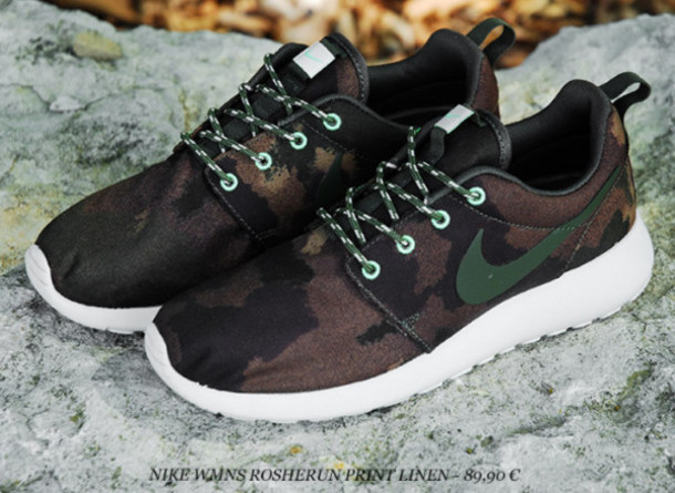 shoes nikes nike roshe run camouflage military nike sportswear edit