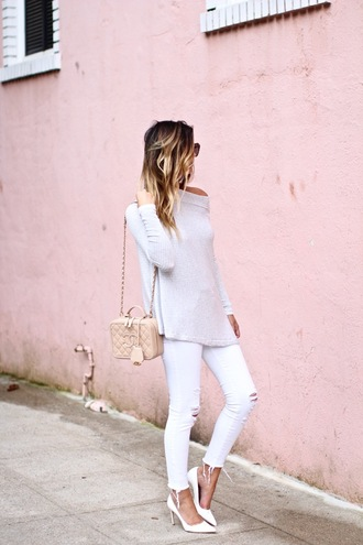 for all things lovely blogger shoes bag sunglasses jewels make-up white sweater white jeans ripped jeans shoulder bag chanel nude nude bag white heels grey sweater white ripped jeans jeans chanel bag white pumps pumps high heel pumps