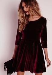 dress,red burgundy velvet skater dress,burgundy maroon velvet skater   dress.,velvet dress,skater dress,3 /4 sleeve