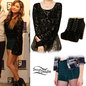 lace top lace shirt velvet shorts velvet high heels black lace lace shoes ally brooke fifth harmony