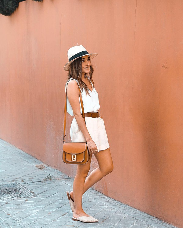 belt dress white dress hat bag shoes brown belt