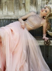 dress,sherri hill,prom dress,blush,two-piece,pink,princess dress,cowboy boots,lace,blonde hair,model,crop tops,fashion,bridesmaid,tulle skirt,maxi skirt,rustic wedding,country wedding,shoes,boots,cowgirl boots,western boots