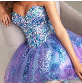 dress blue purple prom dress leopard print blue crystal purple crystal raw crystal rhinestone dress
