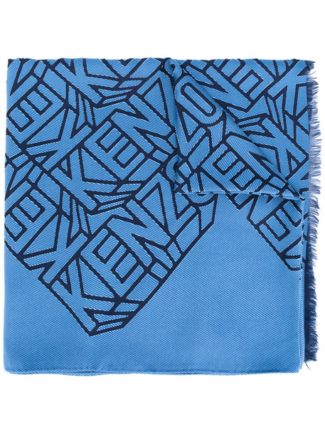 Kenzo embroidered women scarf blue silk