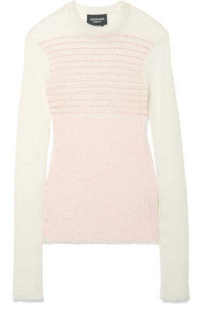 CALVIN KLEIN 205W39NYC sweater white wool knit