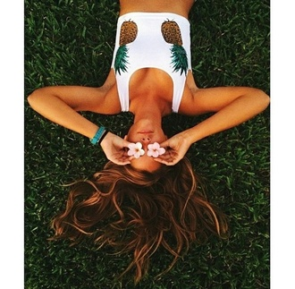 top pineapple pineapples hipster instagram crop style stylish grunge girly girl woman hair