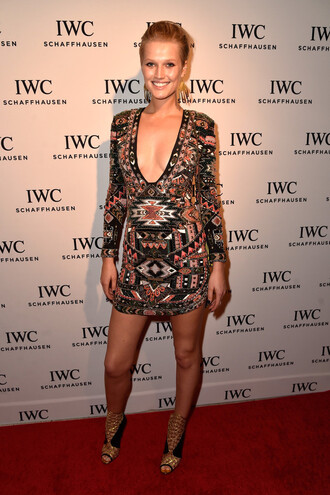 dress colorful mini dress toni garrn sandals aztec embellished