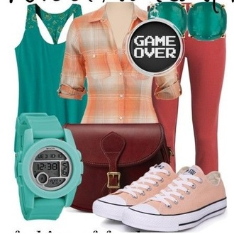top tank top flannel wreck it ralph disney all star converse watch orange teal blue bag purse red gaming