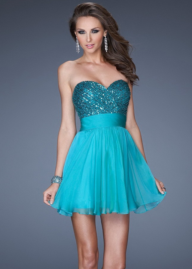 Short Peacock Sequined Strapless Bodice Homecoming Dress [Short Peacock Homecoming Dress] - $139.00 : Cheap Homecoming Dresses 2014 Sale, Cheap Dresses for Prom 2015