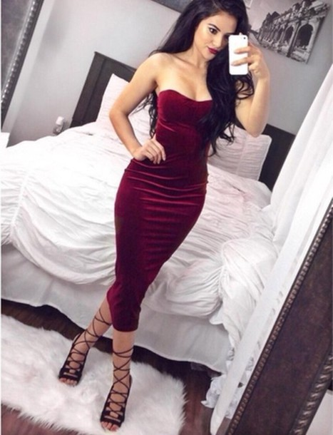 4ed88f1b222 dress strapless strapless dress red red dress midi midi dress bodycon dress  party dress sexy party