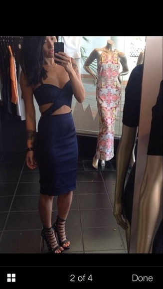 dress navy dress cutout dress tight dress