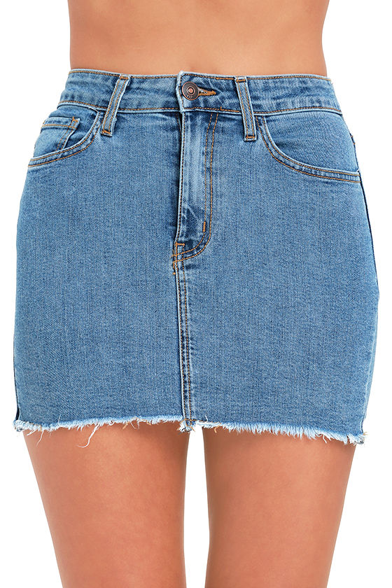 and Lock Medium Wash Denim Mini Skirt