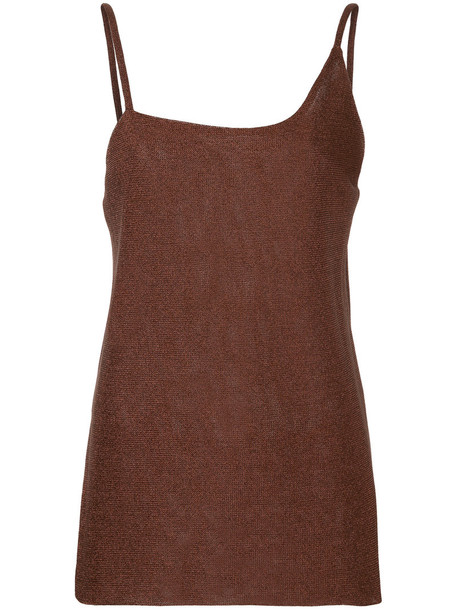 Kacey Devlin top metallic women brown