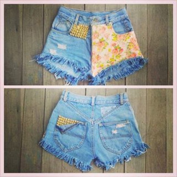 shorts blue shorts flowered shorts flower