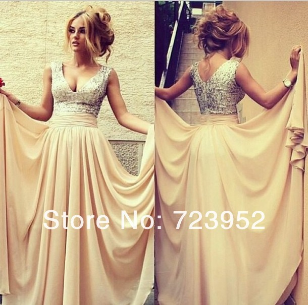 Online Store High Quality 2013 Dress New Fashion V Neck Sleeveless Cream Sequin Chiffon Draped Prom Gowns Formal Evening Dress-in Evening Dresses from Apparel & Accessories on Aliexpress.com