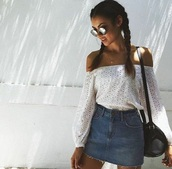 blouse,off the shoulder top,white blouse,shirt,laser cut off should long sleeved top,white,summer,pretty,top,off the shoulder,white top,white long sleeve off the shoulder,skirt,denim skirt,sunglasses,sunnies,glasses,round sunglasses,round frame glasses,accessories,Accessory,cute,denim,braid,tumblr,lace,white lace,outfit