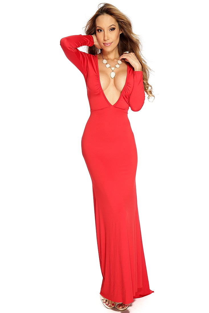 Red plunging neckline sexy mermaid dress