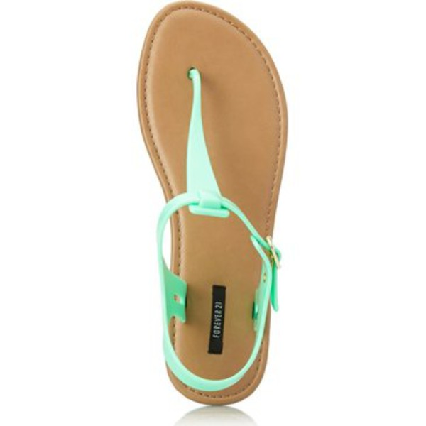 shoes neon sandals turquoise light blue summer shoes mint mint shoes flats flats flat sandals pastel shoes forever 21 forever 21 shoes blue blue sandals blue shoes beach shoes