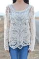 Floral Crocheted Mesh Blouse - OASAP.com