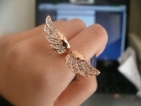 jewels gold ring diamonds silver wings