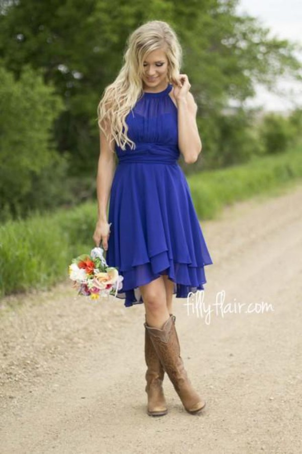 2016 royal blue country bridesmaid dresses short 2015 for Short blue wedding dresses