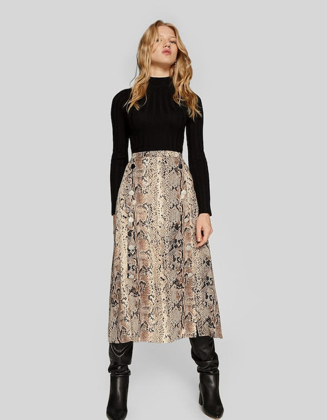 Stradivarius Faux Snakeskin Double-breasted Midi Skirt In Black