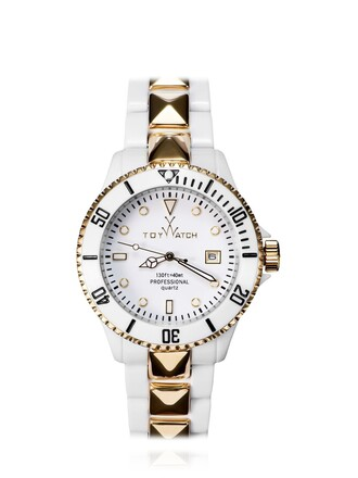 watch gold white jewels