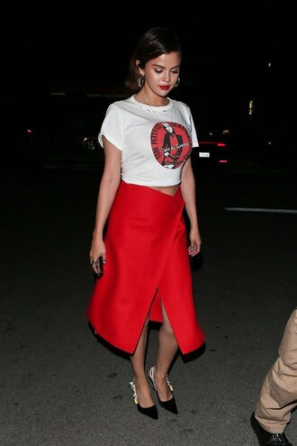 skirt red top selena gomez spring outfits wrap skirt midi skirt pumps crop tops