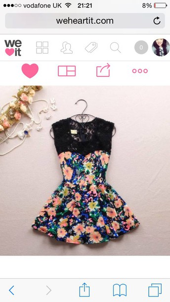 dress floral dress lace dress pretty skater dress dress