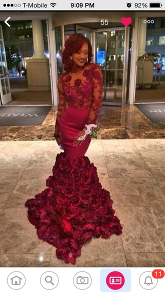 dress red roses mermaid long gorgeous