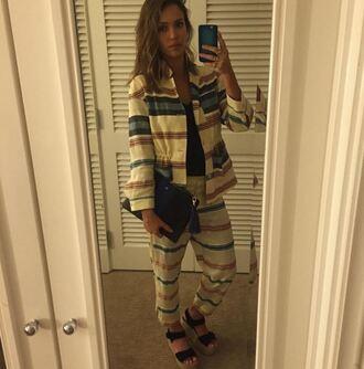 pants stripes jessica alba instagram sandals spring spring outfits jacket spring jacket