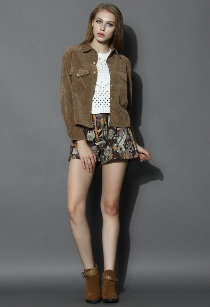 Adore Faux Suede Jacket in Camel - Retro, Indie and Unique Fashion