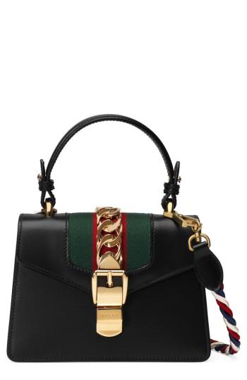 9b07cc02f Gucci Mini Sylvie Top Handle Leather Shoulder Bag   Nordstrom