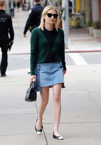 sweater flats ballet flats emma roberts streetstyle fall outfits fall sweater denim denim skirt